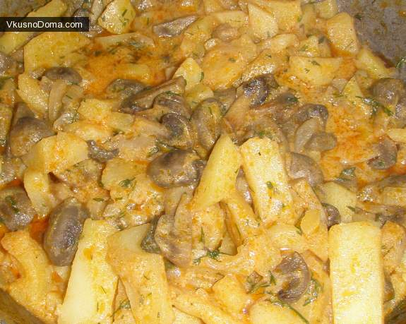 Картофель тушеный с грибами рецепт