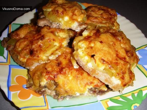 Куриная отбивная с ананасом и сыром рецепт с пошагово в
