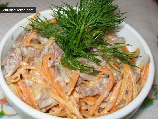 Мясной салат с морковью по корейски