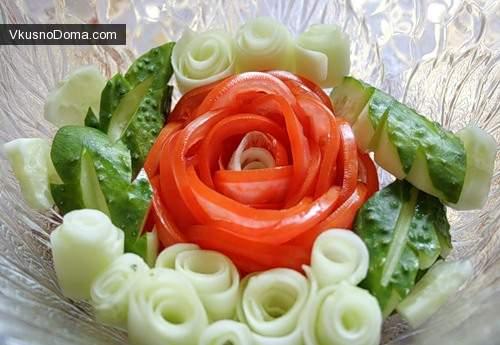 Оформление салатов из помидор с фото розы из помидоров